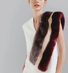 TED BAKER Wyla striped faux-fur scarf
